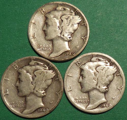 Mercury Dimes 1940-P 1940-D & 1940-S