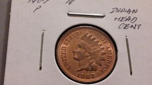 1907P 1c Indian Head Cent XF AU