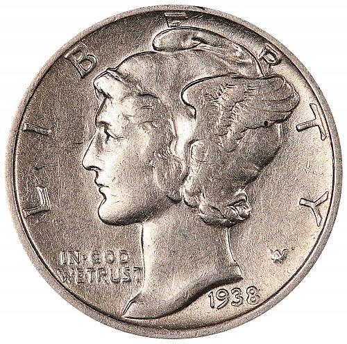 1938-S Mercury Dime. A.U. Condition. Mint Luster. 0013