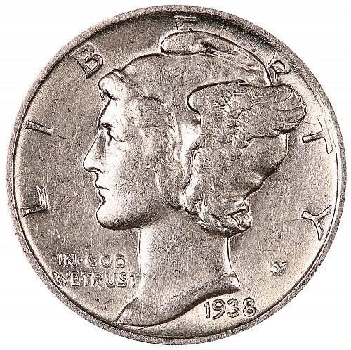 1938-S Mercury Dime. A.U. Condition. Mint Luster. 0036