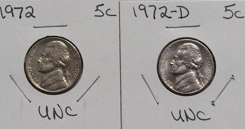 1972 P&D Jefferson Nickels in BU