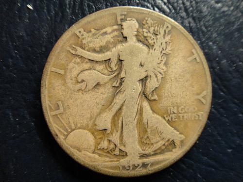 1927-S Walking Liberty Half Dollar Fine-12 Attractive Dark Olive Grey Patina!