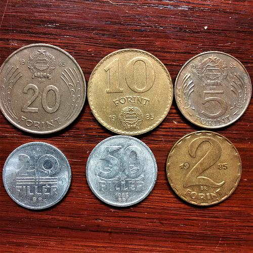 Hungary 1985 = 20, 10, 5 and 2 Forint; 50 and 20 Filler