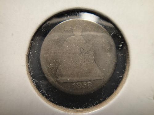 1858 Seated Liberty Half Dime Good-4 Original Patina!