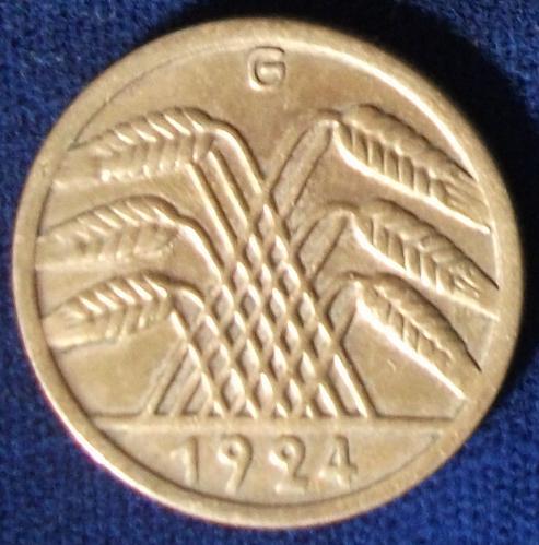 1924G Germany/Weimar 50 Rentenpfennig VF+