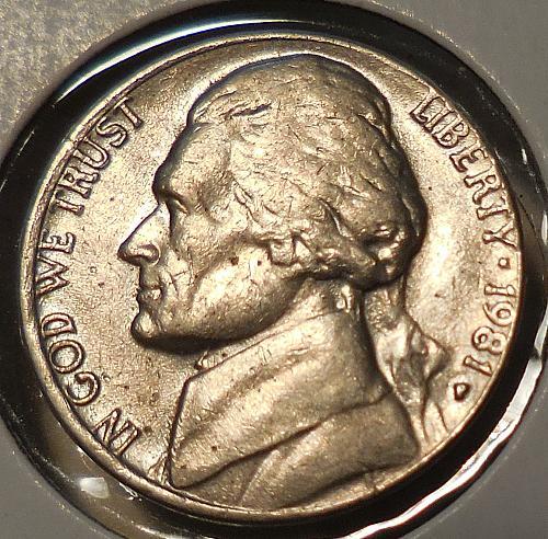 1981-P Jefferson Nickel Misaligned Die Error