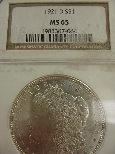 1921 D Morgan Dollar/ NGC MS 65