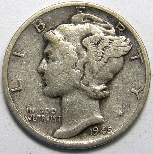 1945 S Mercury Dime #6  MICRO  S