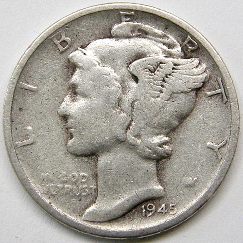 1945 S Mercury Dime #8  MICRO  S