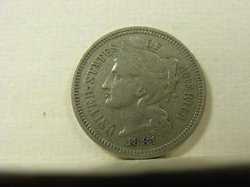 1881 P Nickel Three Cent