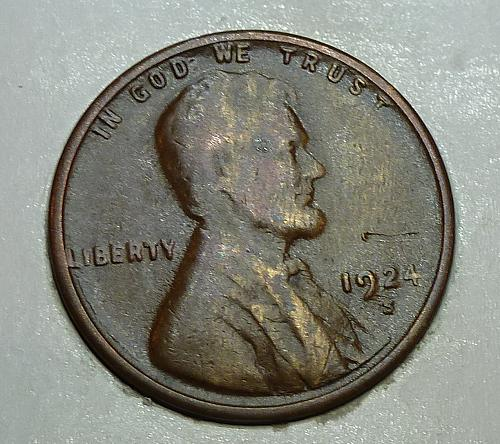 1924-S XF Lincoln Wheat cent in Very Fine ( 72418-J)