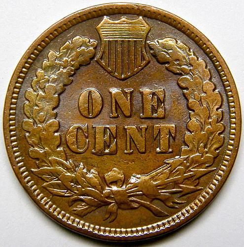 1902 P Indian Head Cent #14 Reverse Die Crack Error 7:30
