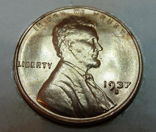 1937- S Gem BU RED Lincoln Wheat Cent