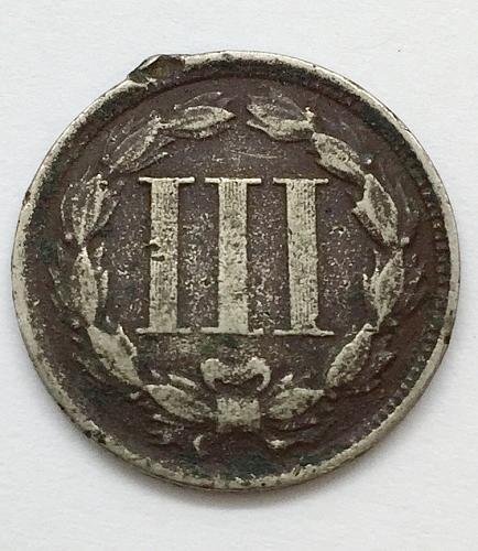 1865 Copper Nickel 3 Cent Piece