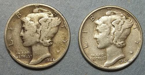 2 Mercury Dimes Lot McD5W