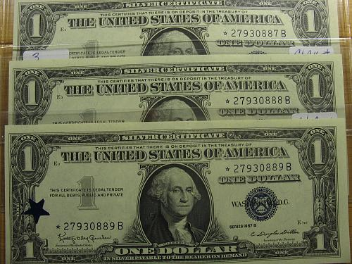 (3) 1957 B $1.00 Silver Certificates (Star Notes/ Consecutive Serial #'s) CH CU