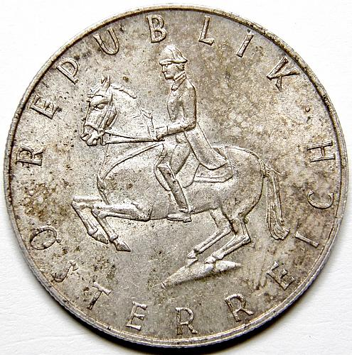 1962 Austria 5 Shillings featuring Horseback Rider