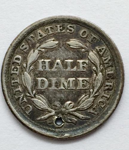1858  Seated Liberty Half Dime - Holed