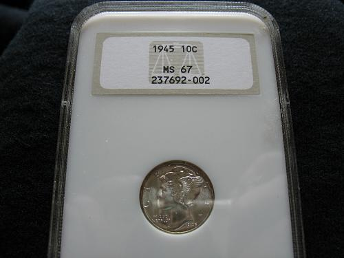1945 P Mercury Dime MS 67 NGC