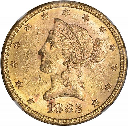 $10.00 1882-S Gold $10 Ten Dollar Eagle - NGC MS62