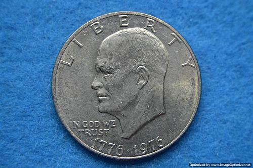1976 P Eisenhower Dollars: Type 2 - Sharp Design - Delicate Lettering