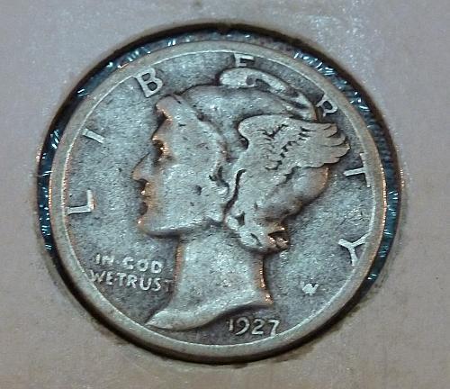 1927-S  Grades Fine  Mercury Dime  (1120))