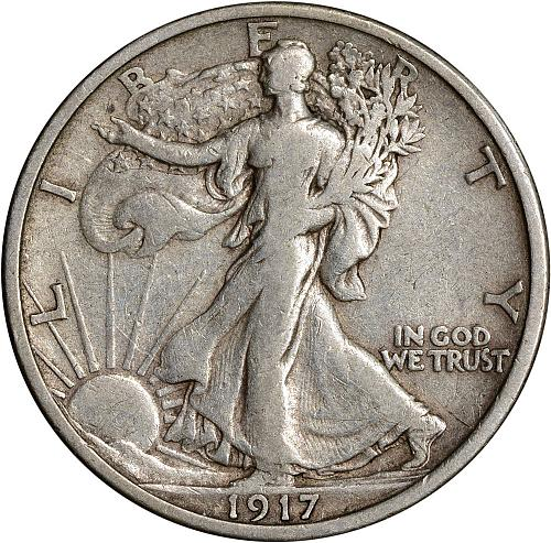 1917-D Rev Walking Liberty Half Dollar 50c VF - ToughCOINS