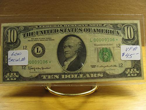 1963 $10.00 Fed. Reserve (STAR) Note - Low Serial # - VF+