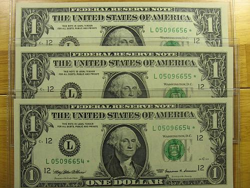 (3) 1999 $1.00 Fed. Reserve (Star) Notes - Consecutive Serial #'s - CH CU