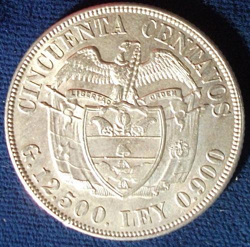 1934 Colombia 50 Centavos AU+