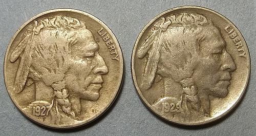 2 Buffalo Nickels LOT BNf4