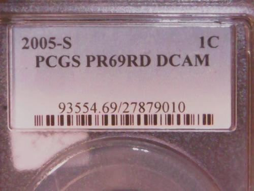 PCGS 2005 -S PR69RD DCAM  LINCOLN MEMORIAL CENT