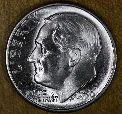1950 S Roosevelt Dime GEM BU Blazing White from OBW Rolls!