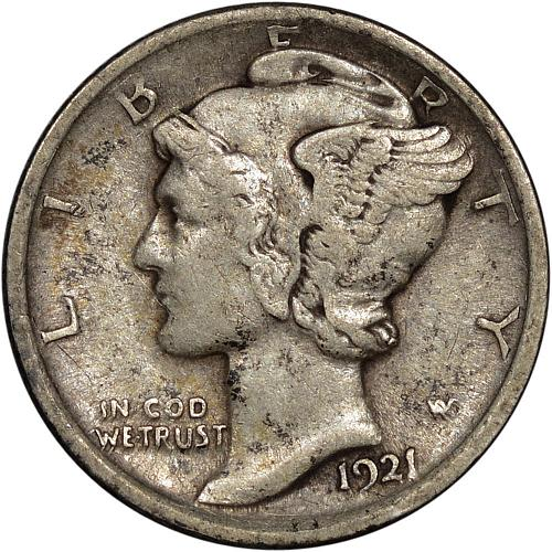 Better Date 1921 Mercury Dime Strong VF - ToughCOINS