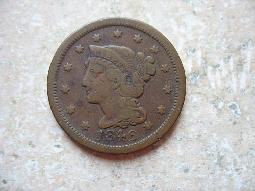 1846 P Braided Hair Large Cent