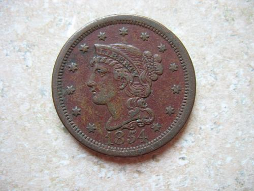 1854 P Braided Hair Large Cent