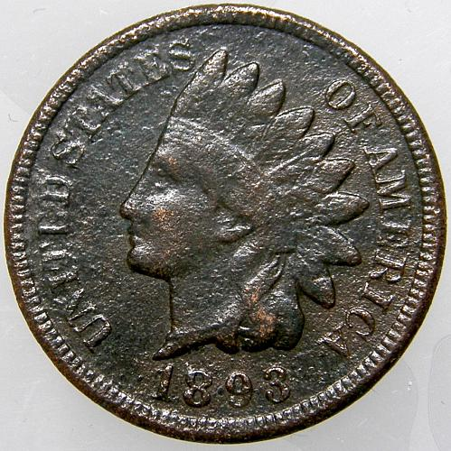 1893 P Indian Head Cent #15 Coin is Very Dark as shown.