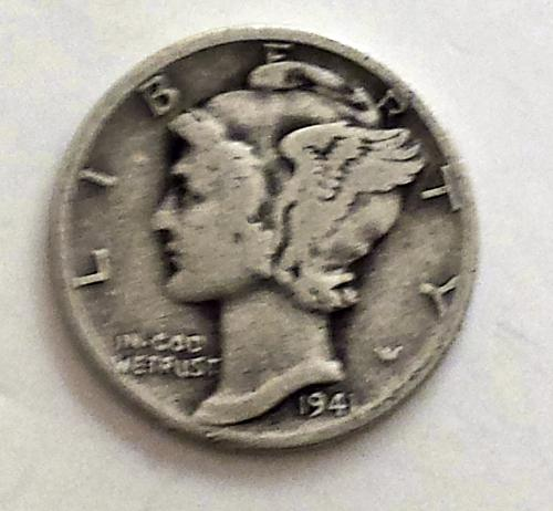 1941 P Mercury Winged Liberty Silver Dime