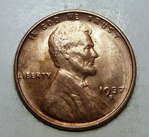 1937-S GEM RED BU Lincoln Wheat Cent (81318K)