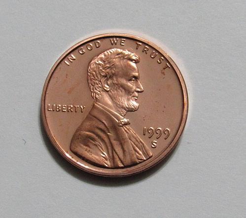 1999-S 1 Cent - Lincoln Memorial Cent