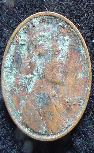 1935 P Lincoln Wheat Cent (VG-8) ugly damaged