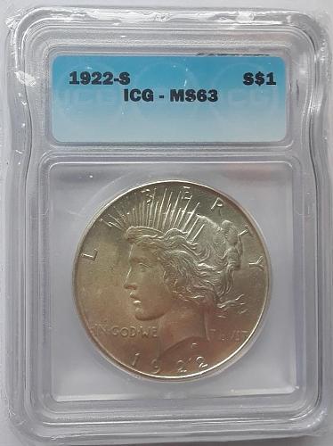 1922-S Peace Dollar ICG MS63