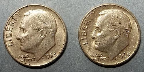1964 p and d Roosevelt Dimes Lot JRDMz