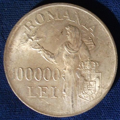 1946 Romania 100,000 Lei AU