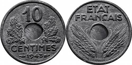 France 1943 10 Centimes  0255
