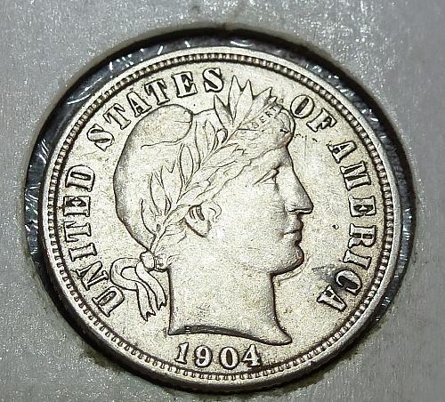 1904-P Grades AU About Uncirculated Barber Dime (1528 )