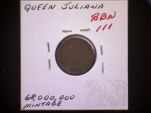 1952 NETHERLANDS ONE CENT