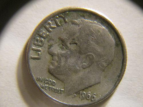 Unusual error 1966 P Roosevelt Dimes