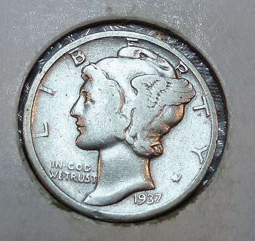 1937-P Fine Mercury Dime  F ( 1587)