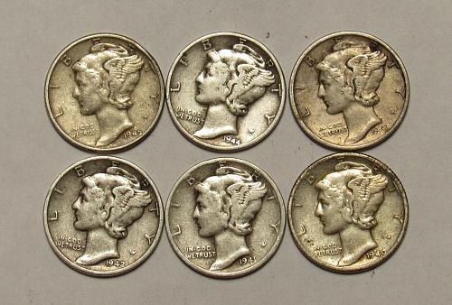 1940 P through 1945 P Mercury Dimes